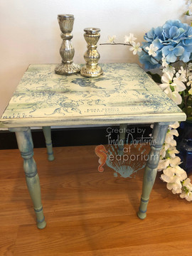 Green and Blue Toile Table