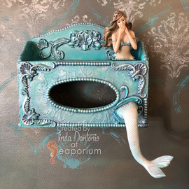 Wall Tissue Box - Upcylcled with Mermaid