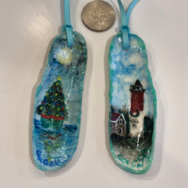 Hand Pained Razor Shell Ornaments