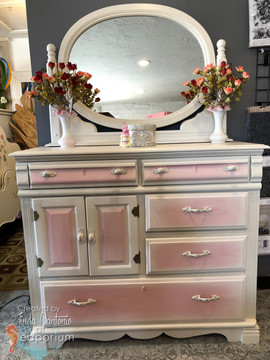 Pink White Mirrored Bureau