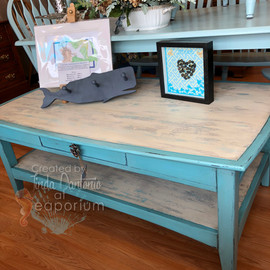 Aqua Pulled Paint Coffee Table