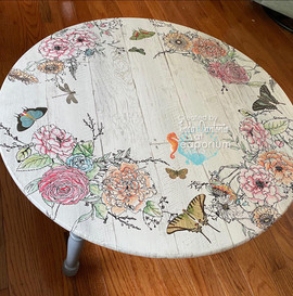 Winter's Song and Barnwood Plank Table - Hand Painted Flowers