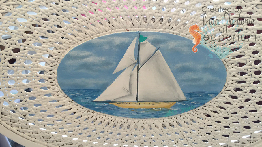 Hand Painted Sail Boat On Chairs