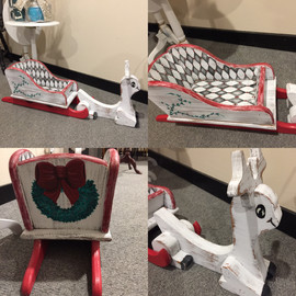 Hand Painted Holiday/Christmas Sled and Reindeer