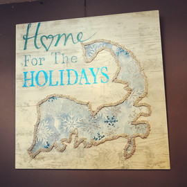 Hand Made and Embellished Cape Cod Holiday Sign