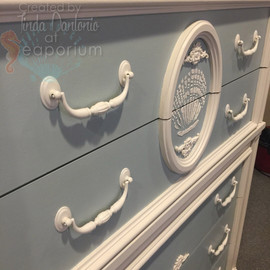 Blue and White Dresser with Shell
