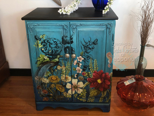Blue Ombre Midnight Garden Chest of Drawers