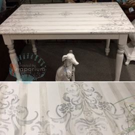 Hand Painted, Striped and Stenciled Dining Table