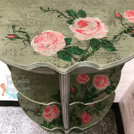 Green Painterly Upcycled Table Stand