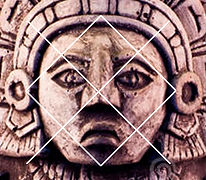 canamayte pattern over mayan frontal face sculpture