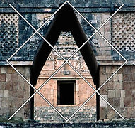 example of canamayte pattern over mayan arquitecture