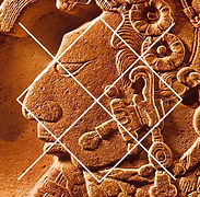 canamayte pattern over mayan face sculpture