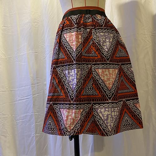 Handmade Red African Print Cotton Skirt UK Size 10