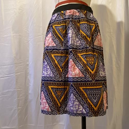 Handmade Pink African Print Cotton Skirt UK Size 10