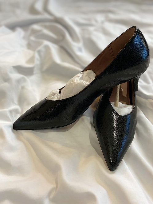 Next Black Real Leather Kitten Heels UK Size 7 Wide Fit