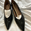 Thumbnail: Next Black Real Leather Kitten Heels UK Size 7 Wide Fit