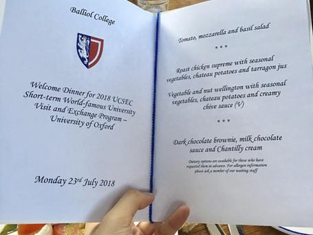 Formal Dinner at University of Oxford