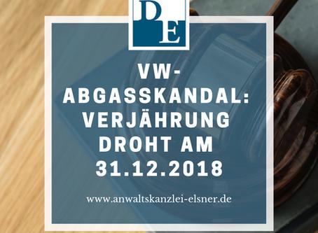 VW-Abgasskandal: Verjährung droht am 31.12.2018