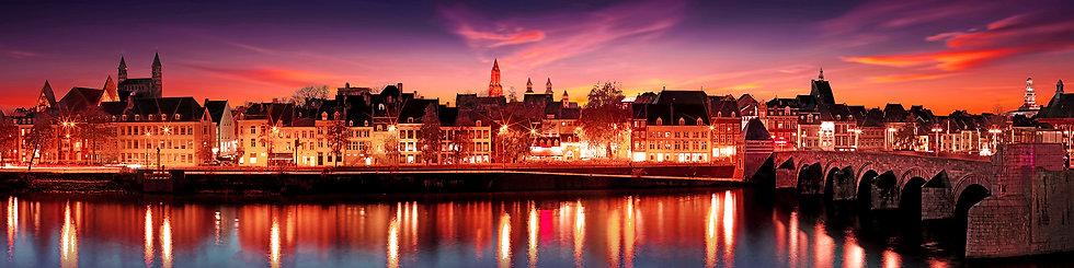 Panorama Foto, Maasboulevard avond, 50 x 200 cm Acryl-Dibond