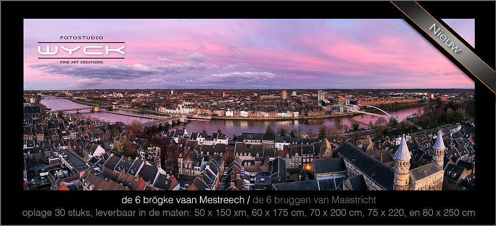 6 bruggen van Maastricht, 50 x 150 cm, Acryl-Dibond