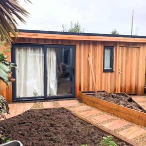 Summer House Base and Paving by ADM Home & Gardenscapes