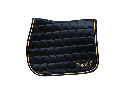 Dapple Pony Navy Saddle Pad with Gold Piping