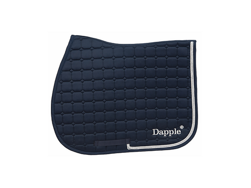 Dapple Pony Navy Diamanté Saddle Pad with Silver Piping