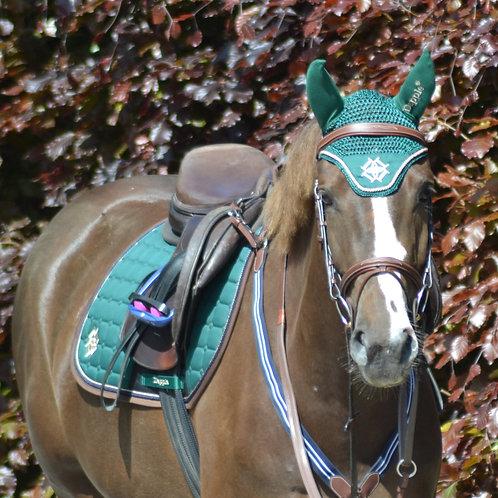 Irish Green Saddle Pad with Beige & Brown Piping