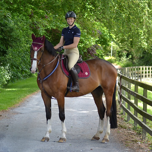 Burgundy Saddle Pad with Beige & Brown Faux Leather Piping