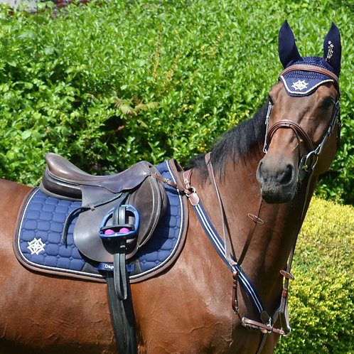 Navy Saddle Pad with Beige & Brown Piping