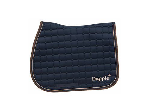 Dapple Pony Navy Saddle Pad with beige & Brown Piping