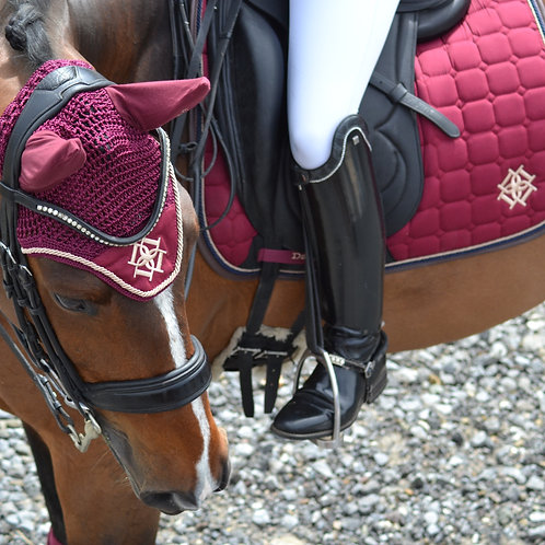 Dressage Burgundy Saddle Pad with Beige & Brown Faux Leather Piping