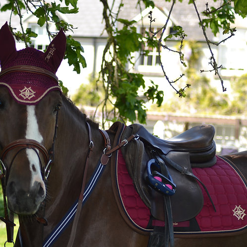 Burgundy Saddle Pad with Beige & Brown Piping