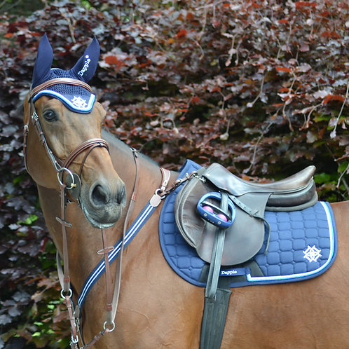 Navy Diamanté Saddle Pad with Blue & White Piping