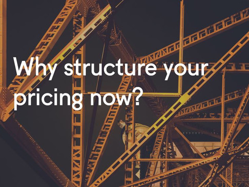 Why structure your pricing now?