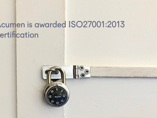 Acumen is awarded ISO27001:2013 certification