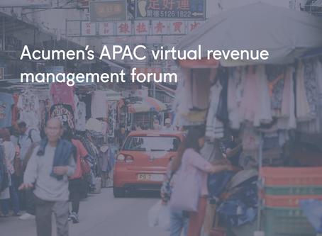 Acumen's APAC virtual revenue management forum