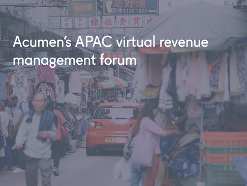 Acumen's APAC virtual revenue management forum
