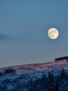 full moon over clearcut
