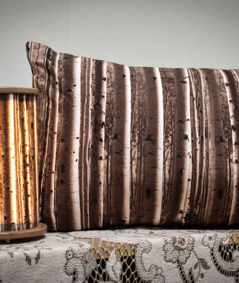 Mini birch forest lamp and birch forest pillow