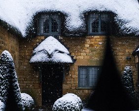 Snowy Cotswolds cottage.