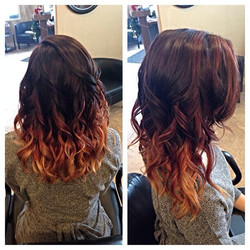 Red Ombre Color & Cut
