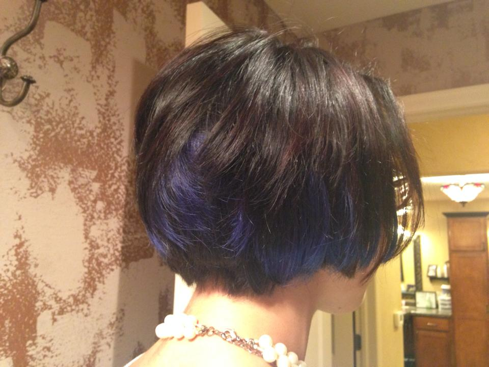 Blue Hair Extentions & Cut