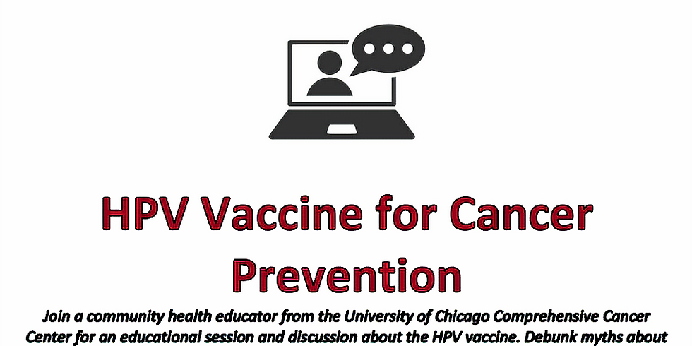 Community Education Webinar on HPV Vaccine for Cancer Prevention