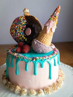 Pink Lemonade Drip Candy Birthday Cake