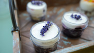 Hazelnut Pound Cake in a Jar with Blueberry Champagne Coulis and Vanilla Bean Buttercream