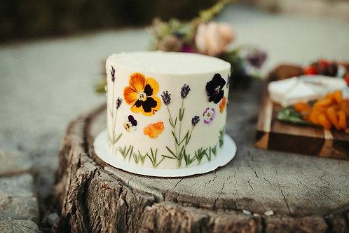 Pressed Flowers Cake