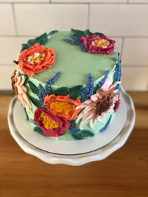 Floral Painted Buttercream Blossom Birthday Cake
