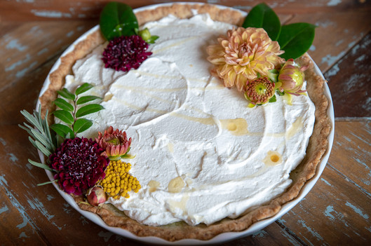 Lemon Sabaigon Tart, Rose Honey Mascarpone Cream in a Toasted Pine Nut Crust