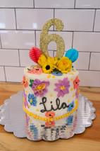 Painted Flowers Birthday Cake